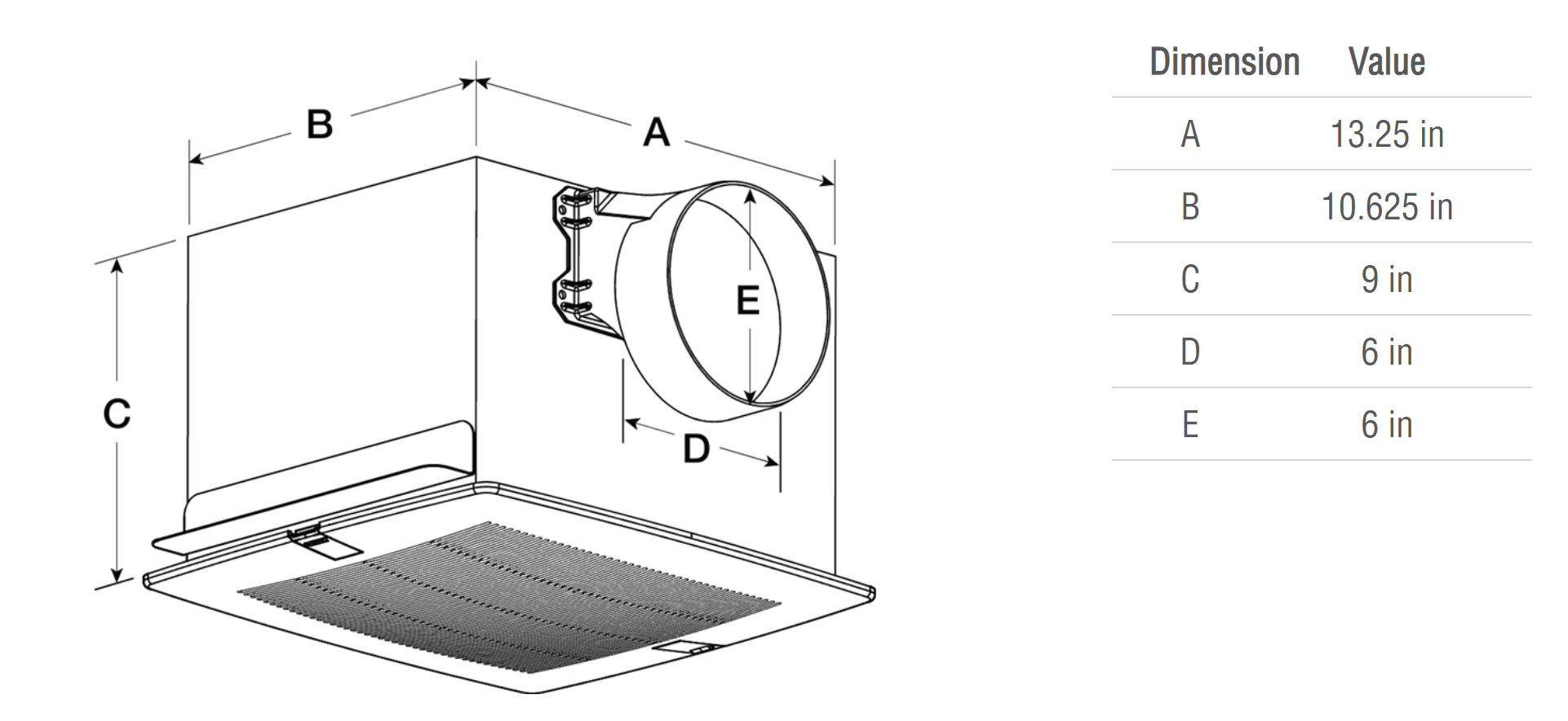 Picture of Bathroom Exhaust Fan, Model SP-A70, 115V, 1Ph, 54-88 CFM